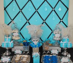 bling party theme | Fête Fanatic: Tiffany Blue Black & Bling Sweets Display!