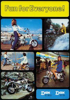 Honda Dax  Länge x Breitex Höhe:  1.510 x 570 x 960 mm | Gewicht 75kg | 2-Sitzer Classic Honda Motorcycles, Old Bikes, Mini Bike, Bike Trails, Vintage Photos, Baseball Cards, Vehicle, Posters, Japan