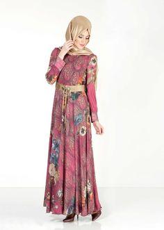 4032 Maglia Tesettür Elbise - FUŞYA - Alvina