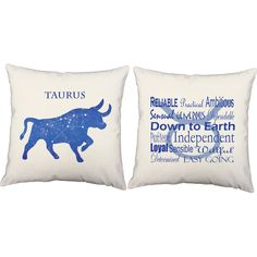 Taurus Pillows - Zodiac Bull Constellation Decorative Throw Pillows - RoomCraft