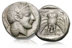 A silver decadrachm of Athens struck 2,500 years ago, a silver tetradrachm of Naxos in Sicily struck circa 430 BC