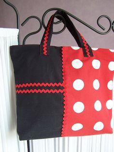 SAC CABAS - zippé - Ton noir et rouge à pois blanc : Sacs à main par le-temps-de-la-couture