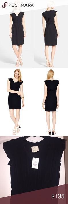 """⚡️SALE⚡️ kate spade♠️Little black frill dress brand new with tags kate spade♠️New York black dress.  Flouncy flutter sleeves with a V-neck crepe and gathered elastic waist to highlight the narrowest part of the waist. Perfect little black dress for any occasion """"fancy meeting you""""♠️ kate spade Dresses"""