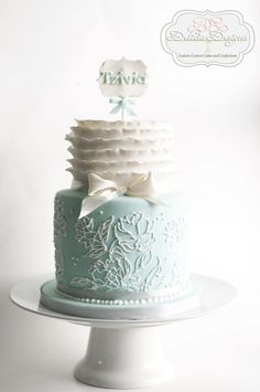 Piped Peony & Ruffles Cake - Cake by Delicia Designs