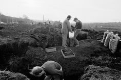 Striking miners picking coal on a spoil heap Elsecar, South Yorkshire, 1984.