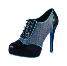 Black Grey Turquoise Brogue