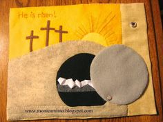 Blog with many wonderful Quiet Book pages, including Biblically themed ones like this Resurrection page.