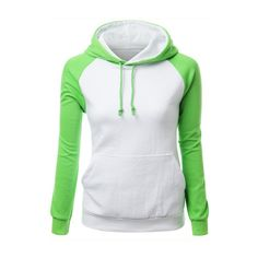 Pocket Design Hooded Collar White and Green Sweats featuring polyvore, fashion, clothing, tops, hoodies, green, print hoodies, print top, long sleeve hoodies, spandex tops and long sleeve pullover