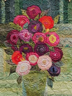 Bouquet quilt with really nice quilting.