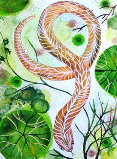 Snake Original Watercolor Painting Ink Snake par CelineArtGalerie, €90.00