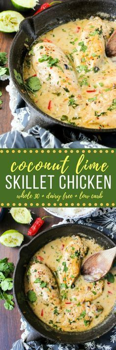 Paleo - Creamy Coconut Lime Chicken Breasts - a one pan, Whole 30 approved dish made with only a handful of ingredients. Dairy Free Paleo It's The Best Selling Book For Getting Started With Paleo Dairy Free Low Carb, Dairy Free Recipes, Whole Food Recipes, Cooking Recipes, Cake Recipes, Paleo Recipes Simple, Quick Recipes, Coconut Recipes Healthy, One Pot Recipes