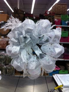 Winter Whites! Mesh wreath by kristy@michaels 1091