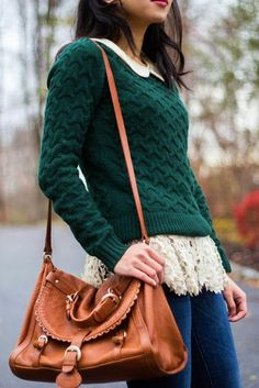 Dark Green Sweater // + lace & collar. I'm not sure this'd look great on me, but I love it anyway.