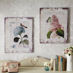Giant Botanical Canvas Pictures - Pair