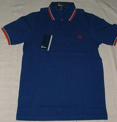 """Fred Perry Medieval Blue Polo $72.00 Detailed Description (""""Medieval Blue"""" color w/grey and red piping, Slim-Fit)"""