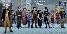 The First Doctor and his companions - Susan, Ian, Barbara, Vicki, Steven, Katarina, Sara, Dodo, Polly, & Ben!