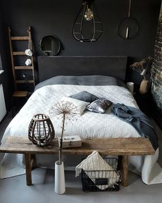 Elegantly Bold Dark Bedroom Ideas for Modern Home Bedroom Furniture Layout, Bedroom Interior, Home Decor, Bedroom Furniture, Stylish Bedroom, Stylish Bedroom Design, Small Bedroom, Warm Bedroom, Furniture Layout
