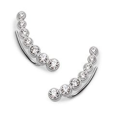 Vintage Glitz Curved Silver-Tone Earrings