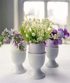 lilac and green egg cups