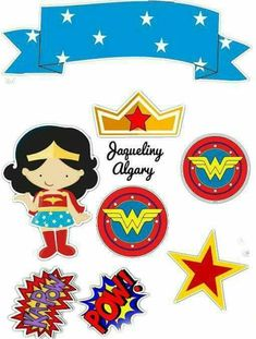 Wonder Woman Birthday, Hero Girl, Superhero Party, Cake Toppers, Gift Wrapping, Wrapping Ideas, Party Themes, Scrap, Banner