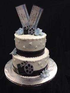 Movie theme wedding cake with custom made tickets