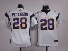 fec9e1748 Kid s Nike NFL Minnesota Vikings  28 Adrian Peterson White Game Jersey The  price is  19