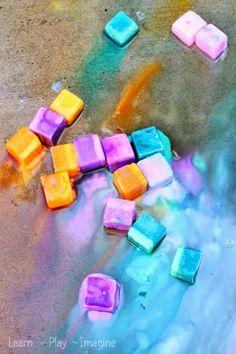 How to make erupting sidewalk chalk ice paint.