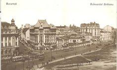 Bucureşti Bd. Brătianu la intersecția cu str. Edgar Quinet, circa 1920 Universitatea, Hotel Britania și Biserica Enei  Vis-a-vis maidanul primăriei