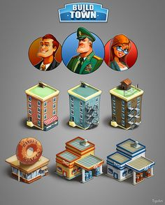 Graphics for game «Boild a town» by Николай Тюлин, via Behance