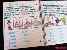 Phonics Fluency Notebooks - kids read highlight and write the words with phonics skill (here it's long vowels), put the events in order, and glue it down! so much fun!