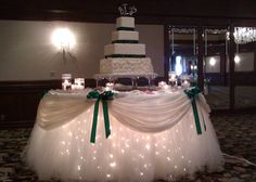 tulle + lights for cake table