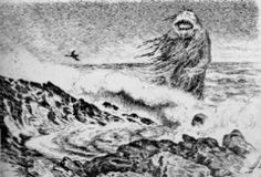 """Draugen, from Norse """"draugr"""" meaning ghost. Yet another water creature, and this one is something you really wouldn't want to meet when you're out in your boat. Draugen is the ghost of a man who died at sea. He is huge and monster-like, and covered in seaweed, rowing in half a boat. He erupts a terrible scream when he appears, and legend has it he can be seen during stormy nights at sea, drowning sailors and fishermen, and sinking their boats and ships. There is a story of a man who once ran…"""