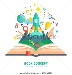 Book concept with flat imagination and education symbols illustration