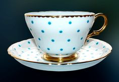 SHELLEY Polka Dots Turquoise Aqua Henley Footed Cup Saucer English Bone China