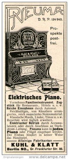 Original-Werbung/Inserat/ Anzeige 1902 : PNEUMA ELEKTRISCHES PIANO / KUHL & KLATT BERLIN - ca. 90 x 40 mm