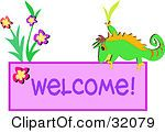 Clipart Illustration Of A Green Chameleon By Flowers On A Welcome Sign Welcome Pictures, Chameleon, Vector Graphics, Clip Art, Sign, Illustration, Flowers, Green, Chameleons