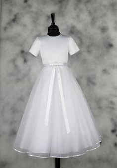 Plain and Simple First Communion Dress - Short Sleeve Satin and Organza - Annabelle - 1212070 - Isabella - New 2015 - Girls Communion Dress Shop