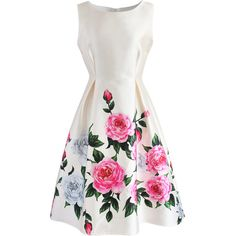 Chicwish Retro Felicitous Peony Printed Dress ($47) ❤ liked on Polyvore featuring dresses, vestidos, white, white print dress, peony dress, retro-style dresses, pattern dress and retro dresses
