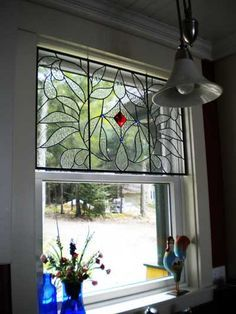 Would like this with a touch of blue instead of red for my B & W kitchen window.  stained glass valance - Google Search