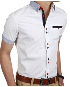 Men's Stylish Formal Short Sleeve Shirt Slim Fit Casual Suits Dress Shirt Tops at Banggood