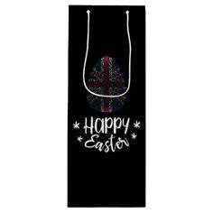 Happy Easter and Easter egg with UK flag Wine Gift Bag - happy easter egg holiday family diy custom personalize