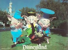 Vintage Disney postcard: Three Little Pigs and the Big Bad Wolf