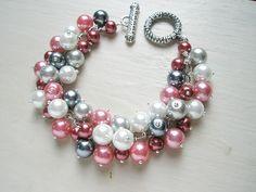 Pink Grey Bridesmaid Jewelry Wedding Pearl Cluster Bracelet - Romanticism. $20.00, via Etsy.
