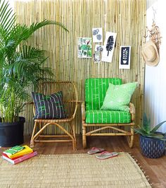 I heart bamboo. This fabric is awesome. Bohemian Beach Decor, Tiny Balcony, Living Etc, Living Spaces, Tropical Style, Tropical Paradise, Inside Home, Other Rooms, Outdoor Chairs