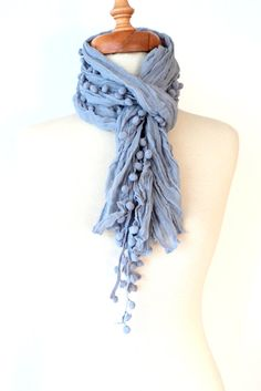 Grey CottonScarfShawlBandanaHeadbandsRectangle by bestbazaar, $15.00