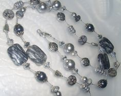 Long Gray Necklace 39 Long Wrap Necklace In by hhjewelrydesigns, $55.00