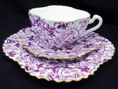 Wileman Shelley alexandra purple bramble chintz tea cup and saucer trio plate