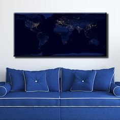 Large Size Box Framed Canvas Print Artwork Stretched Gallery Wrapped Wall Art Like Painting Hanging Original Decorative Modern Home & Living Decor World Map Night Space Snapshot Cities Light Glow Framed Canvas Prints, Artwork Prints, Canvas Frame, Poster Prints, Box Frames, City Lights, Home And Living, Cities, Glow