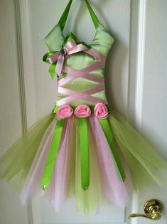 Pink and Green Tinkerbell Inspired Tutu Bow Holder, need to make this!