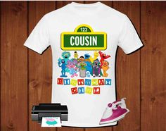 Cousin of the birthday girl Sesame Street Birthday T-shirt for iron on transfer, printable file instant download, high definition 300dpi